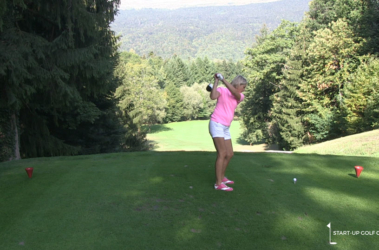 A perfect back swing for a tee-shot